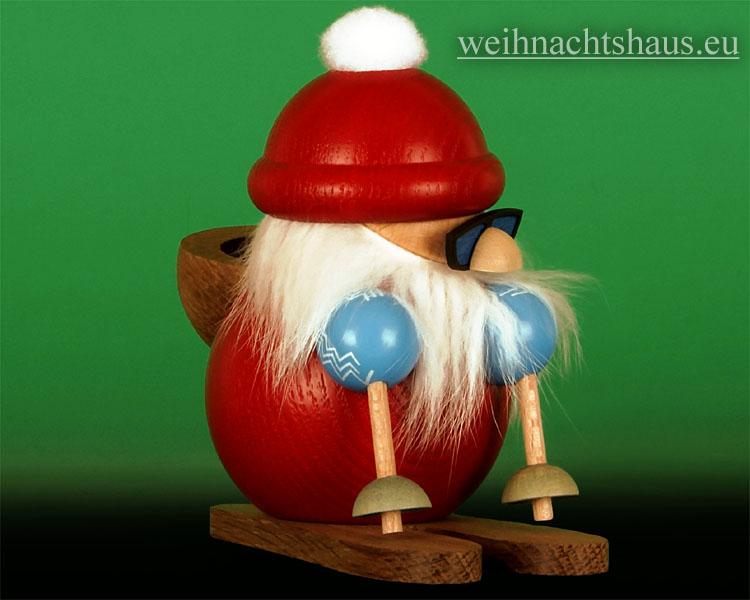 Seiffen Weihnachtshaus - <!--13-->Räuchermann Erzgebirge, Weihnachtsmann auf Ski - Bild 2