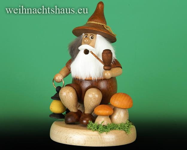 Seiffen Weihnachtshaus - <!--01-->Räuchermann Wichtel sitzend Wanderer mit Laterne - Bild 1