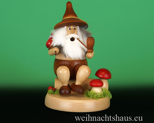 Seiffen Weihnachtshaus - <!--01-->Räuchermann Wichtel  sitzend Wanderer mit Beutel - Bild 2