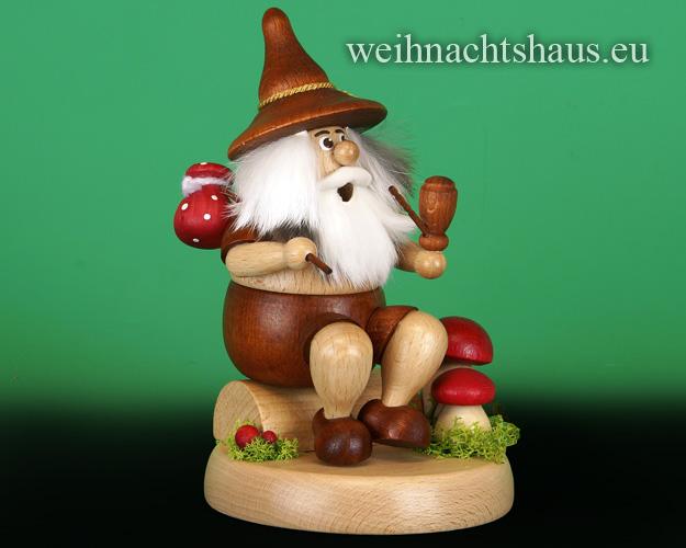 Seiffen Weihnachtshaus - <!--01-->Räuchermann Wichtel  sitzend Wanderer mit Beutel - Bild 1