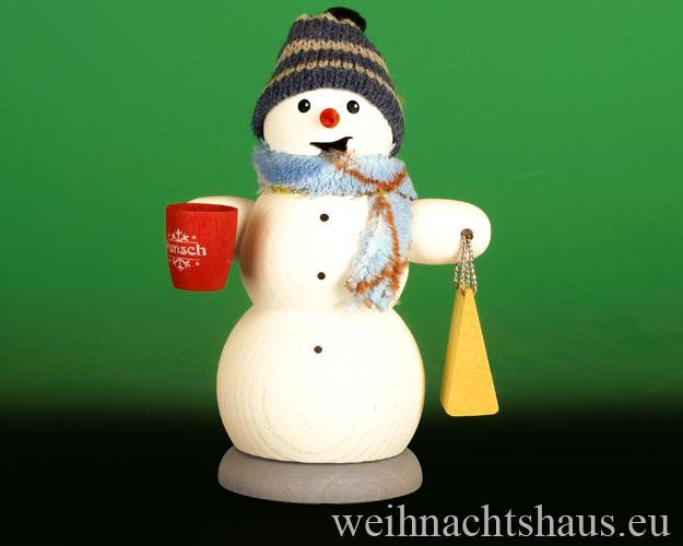 Seiffen Weihnachtshaus - <!--13-->Räuchermann Schneemann  mit Glühwein Neu 2020 - Bild 1