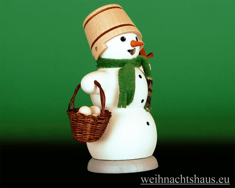 Seiffen Weihnachtshaus - <!--13-->Räuchermann Schneemann mit Schneeballkorb - Bild 2