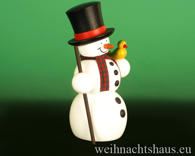 Seiffen Weihnachtshaus - <!--13-->Räuchermann Erzgebirge, Schneemann mit Zylinderhut - Bild 2