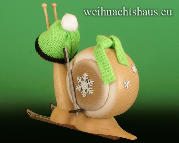Seiffen Weihnachtshaus - <!--11-->Räucherschnecke Erzgebirge  Skifahrer - Bild 2