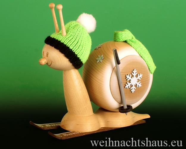 Seiffen Weihnachtshaus - <!--11-->Räucherschnecke Erzgebirge  Skifahrer - Bild 1