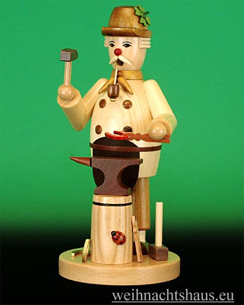 Seiffen Weihnachtshaus - <!--09-->Räuchermann Glückschmied natur - Bild 1