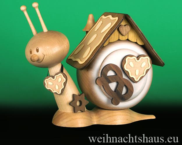 Räucherhaus Schnecke Erzgebirge Raeucherschnecke erzgebirgische Räucherhäuser Lebkuchen