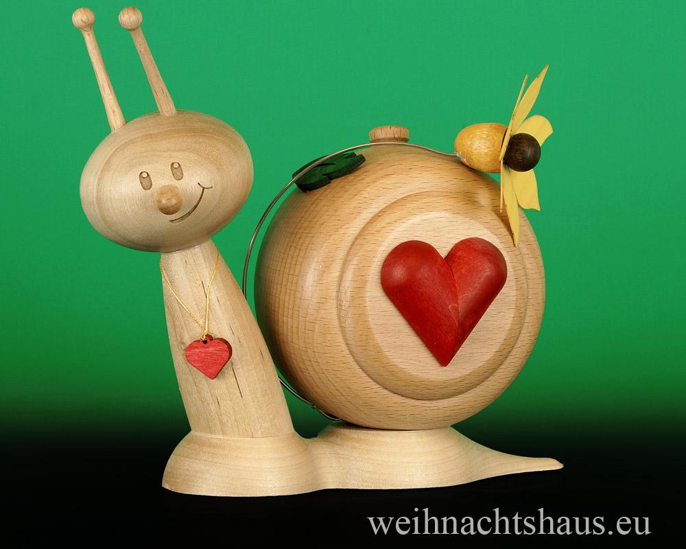 Deko Valentinstag Liebesdeko aus Holz mit Herz Räucherschnecke Erzgebirge Liebesschnecke Geschenk für Valentinstage
