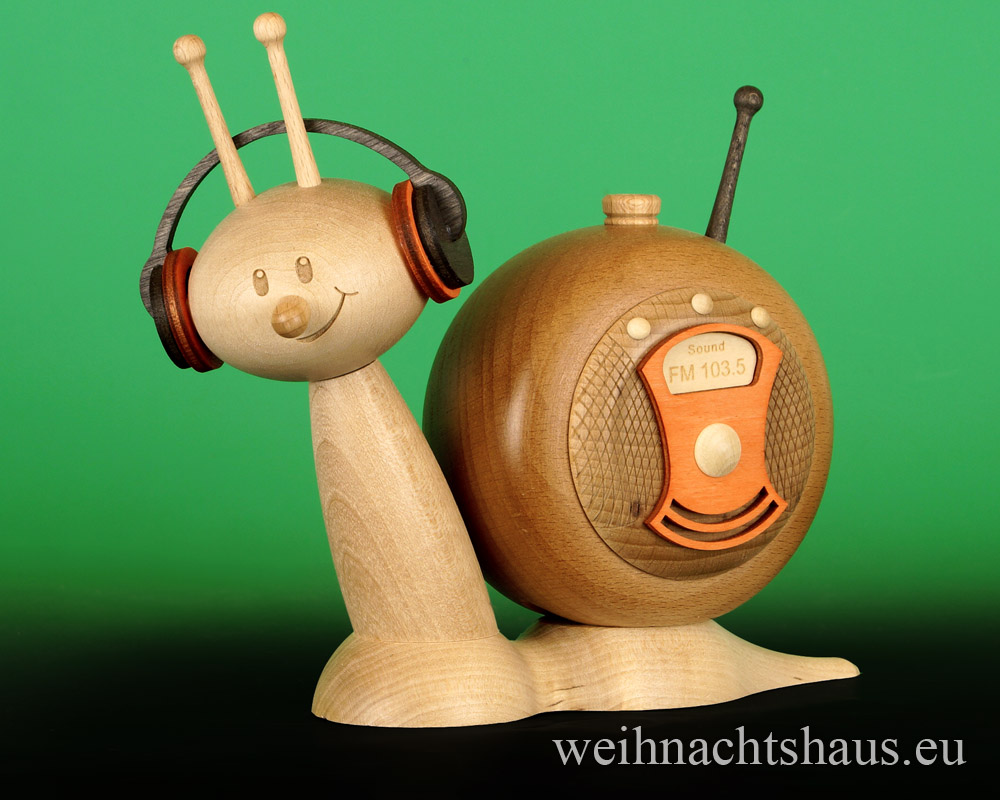 Seiffen Weihnachtshaus - <!--11-->Räucherschnecke Erzgebirge Musikschnecke - Bild 1