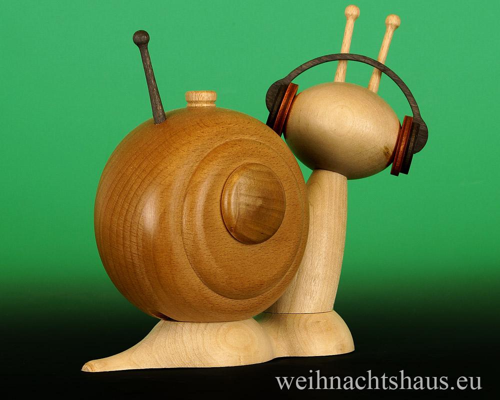 Seiffen Weihnachtshaus - <!--11-->Räucherschnecke Erzgebirge Musikschnecke - Bild 2