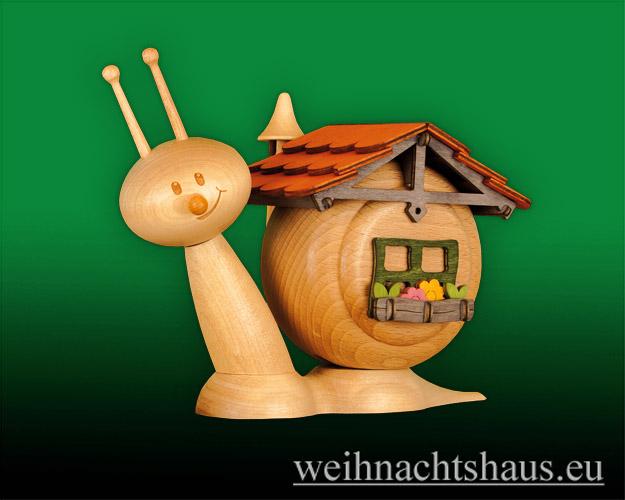 Seiffen Weihnachtshaus - <!--11-->Räucherschnecke Erzgebirge Schneckenhaus - Bild 1