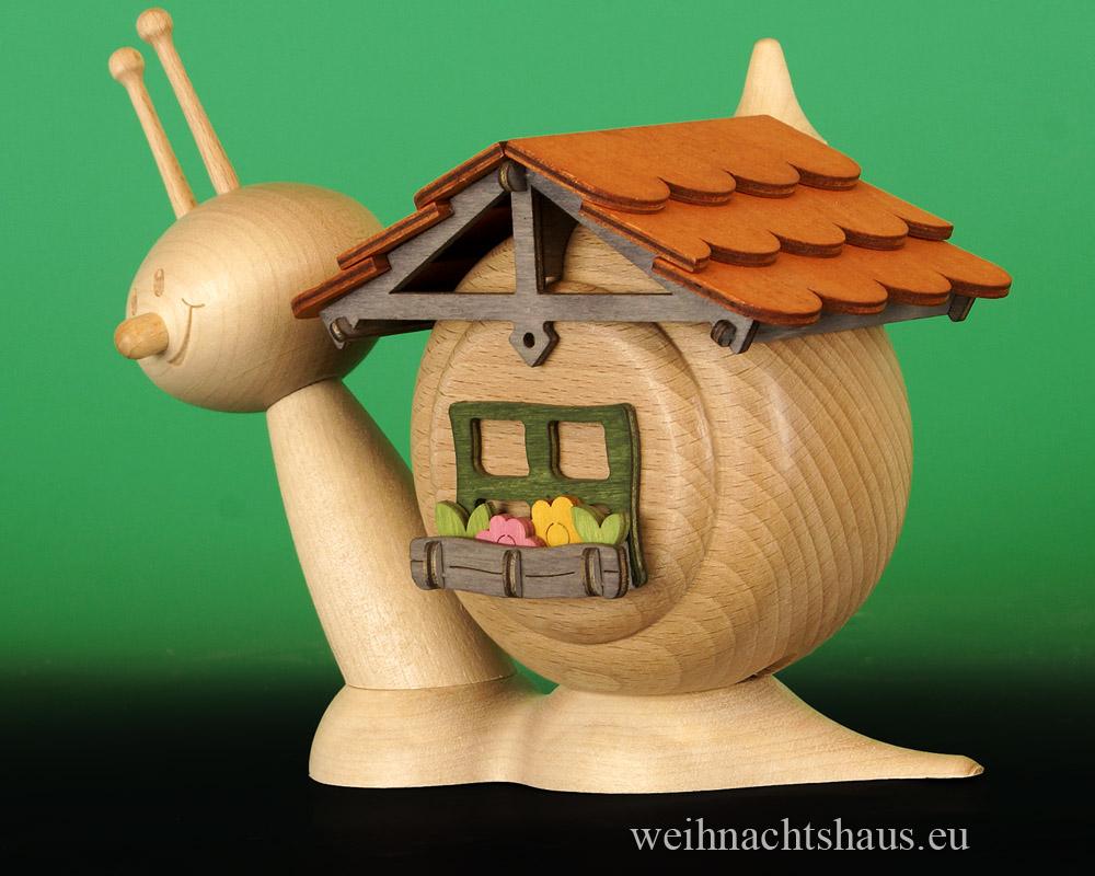 Seiffen Weihnachtshaus - <!--11-->Räucherschnecke Erzgebirge Schneckenhaus - Bild 3