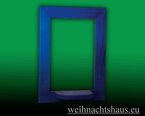 Seiffen Weihnachtshaus - Wandrahmen Fichte blau B 24 x H 33 cm - Bild 1