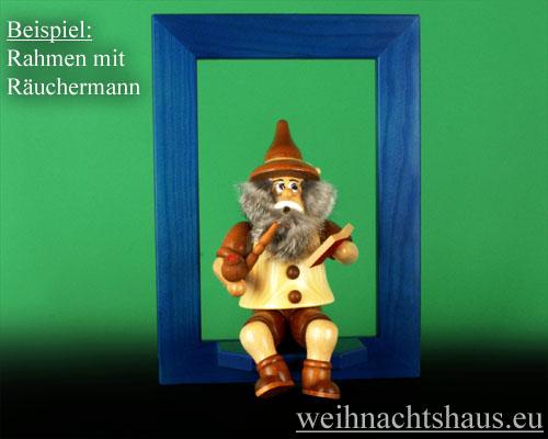 Seiffen Weihnachtshaus - Wandrahmen Fichte blau B 24 x H 33 cm - Bild 2