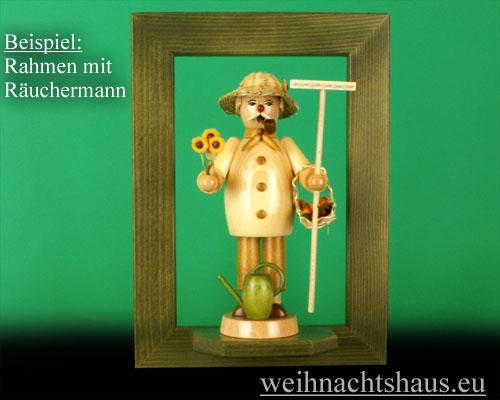 Seiffen Weihnachtshaus - Wandrahmen Dekorahmen aus Holz Erzgebirge,  grün B 24 x H 33 cm - Bild 2