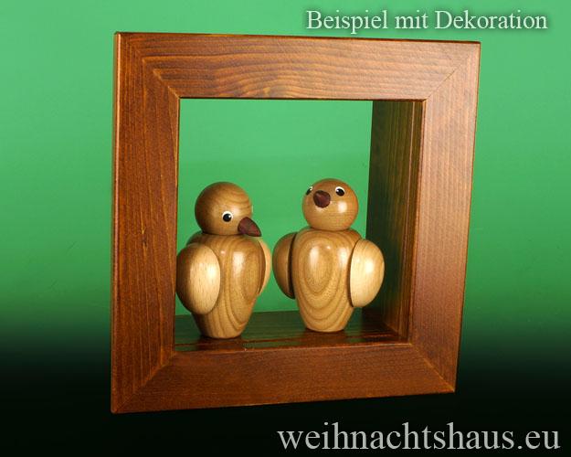 Seiffen Weihnachtshaus - Wandrahmen-Kastenrahmen braun Rahmen aus Holz    B 24 x H 24 cm - Bild 3