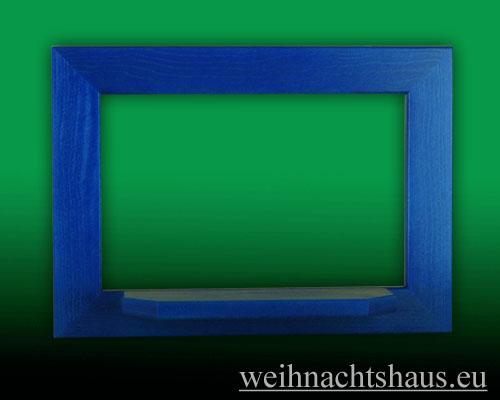 Seiffen Weihnachtshaus - Wandrahmen Fichte blau B 33 x H 24 cm - Bild 1