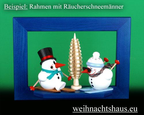 Seiffen Weihnachtshaus - Wandrahmen Fichte blau B 33 x H 24 cm - Bild 2