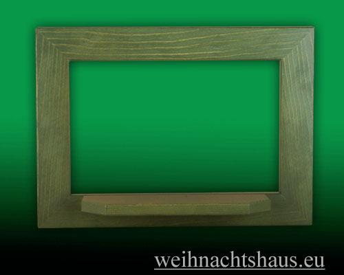 Seiffen Weihnachtshaus - Wandrahmen Dekorahmen aus Holz Erzgebirge  grün B 33 x H 24 cm - Bild 1