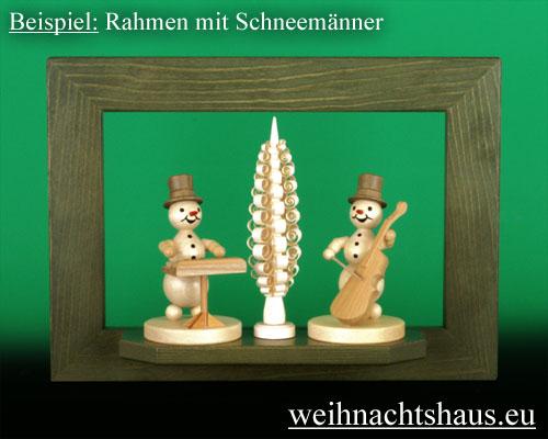 Seiffen Weihnachtshaus - Wandrahmen Dekorahmen aus Holz Erzgebirge  grün B 33 x H 24 cm - Bild 2