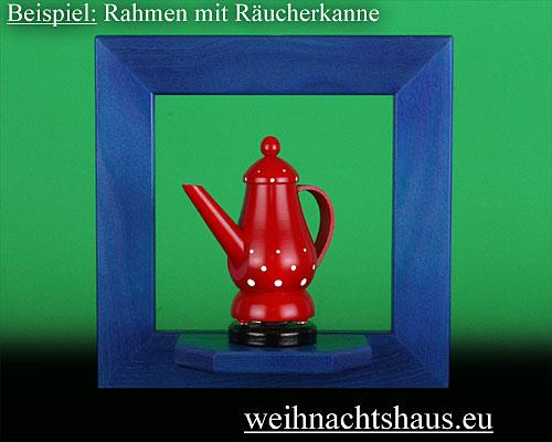 Seiffen Weihnachtshaus - Wandrahmen Fichte blau B 24 x H 24 cm - Bild 2