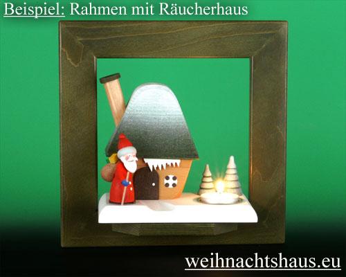 Seiffen Weihnachtshaus - Wandrahmen Dekorahmen aus Holz grün B 24 x H 24 cm - Bild 2