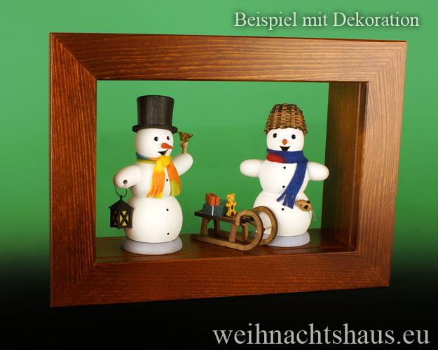 Seiffen Weihnachtshaus - Wandrahmen-Kastenrahmen braun Rahmen aus Holz    B 33 x H 24 cm - Bild 2