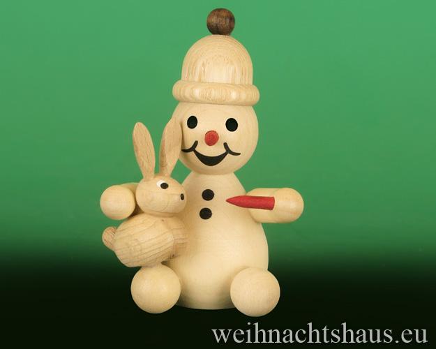 Seiffen Weihnachtshaus - .     Kugelschneemann  mit Hase auf Schoß Neuheit 2018 - Bild 1
