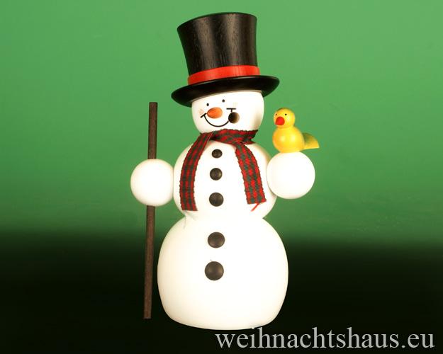 Seiffen Weihnachtshaus - <!--13-->Räuchermann Erzgebirge, Schneemann mit Zylinderhut - Bild 1