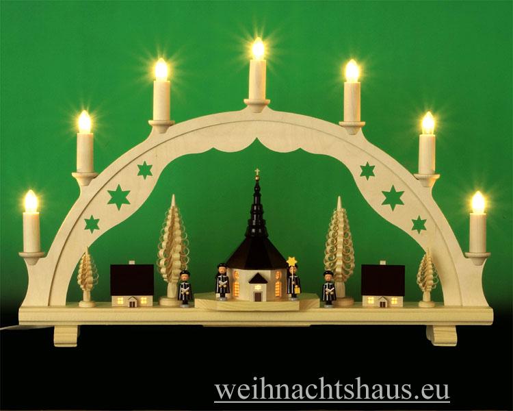 Seiffen Weihnachtshaus - Schwibbogen 7 Kerzen innen beleuchtete Kirche und Häuser 55 cm - Bild 1