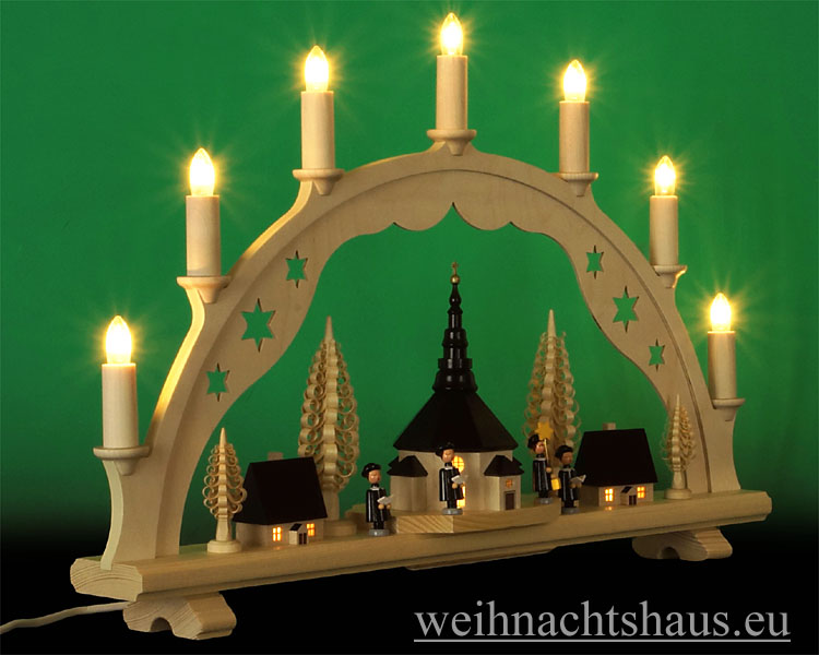Seiffen Weihnachtshaus - Schwibbogen 7 Kerzen innen beleuchtete Kirche und Häuser 55 cm - Bild 2