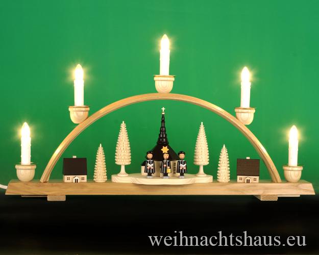 Seiffen Weihnachtshaus - Schwibbogen 5 Kerzen Seiffener Kirche 50 cm - Bild 1