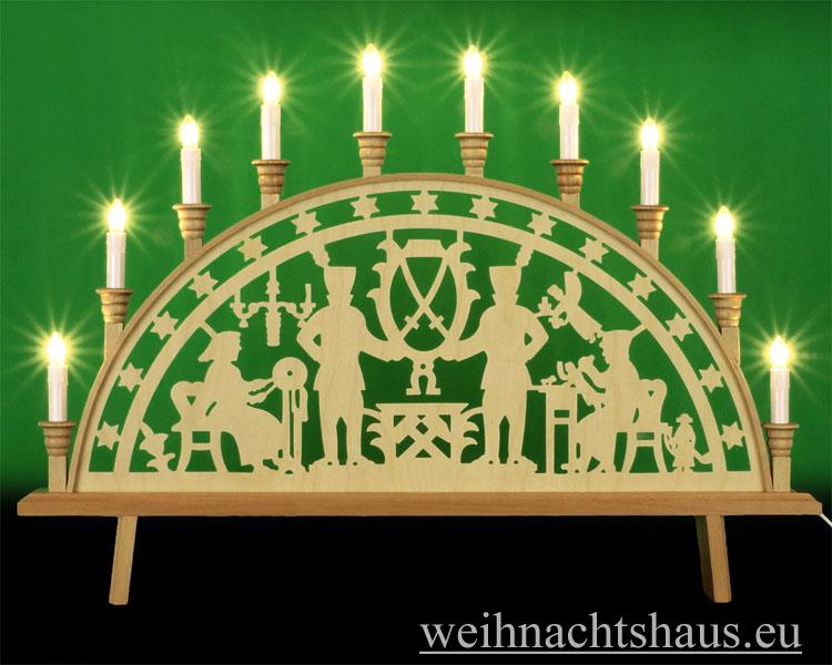 Seiffen Weihnachtshaus - Schwibbogen 10 Kerzen Bergmann 66 cm - Bild 1