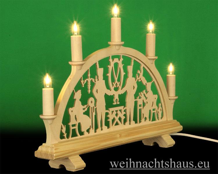 Seiffen Weihnachtshaus - Schwibbogen 5 Kerzen Bergmann 38 cm - Bild 2