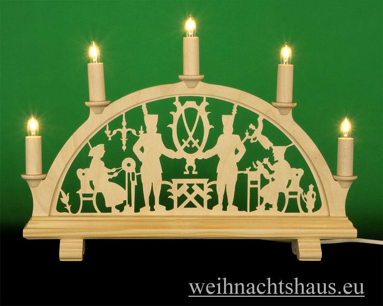 Seiffen Weihnachtshaus - Schwibbogen 5 Kerzen Bergmann 38 cm - Bild 1