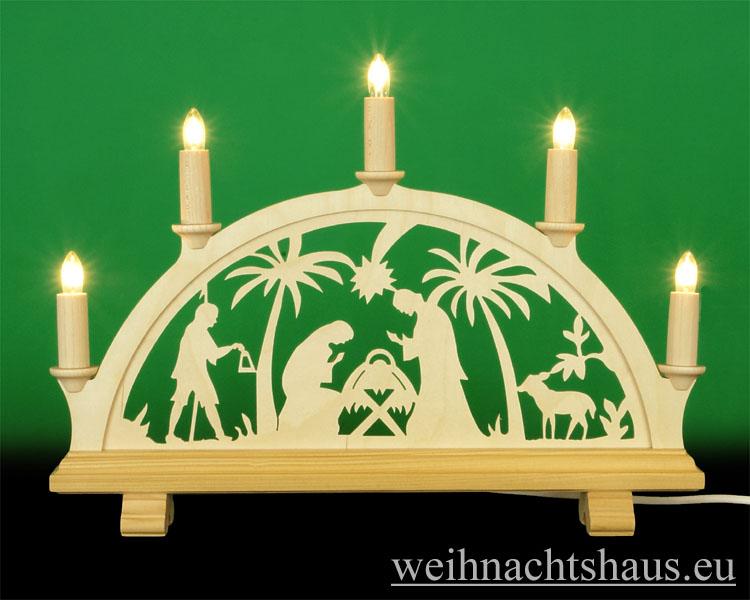 Seiffen Weihnachtshaus - Schwibbogen 5 Kerzen Christi Geburt 38 cm - Bild 1