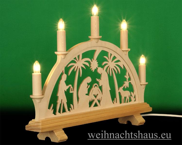 Seiffen Weihnachtshaus - Schwibbogen 5 Kerzen Christi Geburt 38 cm - Bild 2