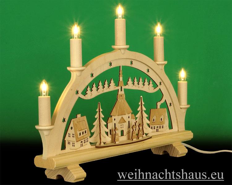 Seiffen Weihnachtshaus - Schwibbogen 5 Kerzen Seiffener Kirche graviert 38 cm - Bild 2