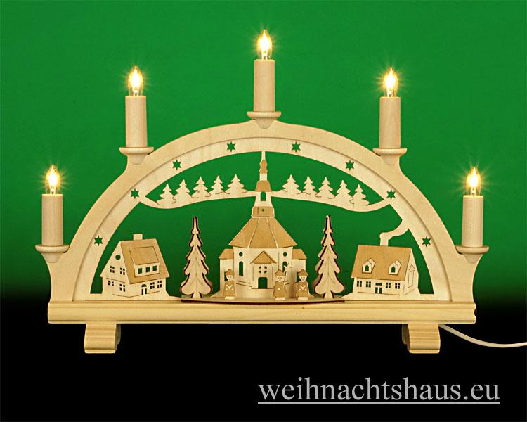 Seiffen Weihnachtshaus - Schwibbogen 5 Kerzen Seiffener Kirche graviert 38 cm - Bild 1