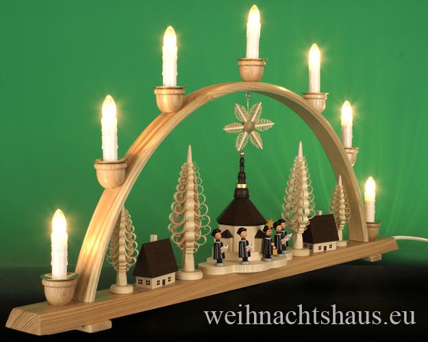Seiffen Weihnachtshaus - Schwibbogen 7 Kerzen Seiffener Kirche 74 cm - Bild 2