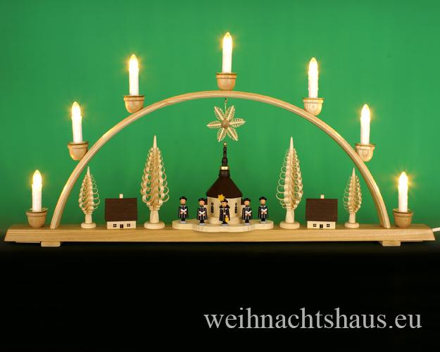 Seiffen Weihnachtshaus - Schwibbogen 7 Kerzen Seiffener Kirche 74 cm - Bild 1
