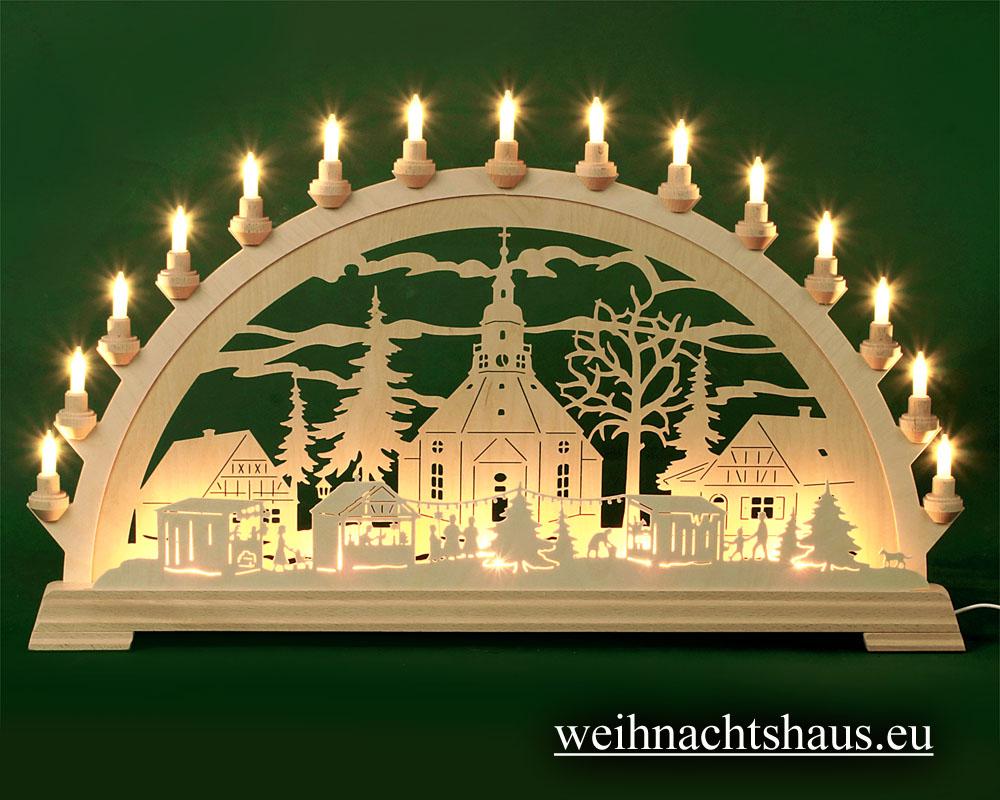 Seiffen Weihnachtshaus - Schwibbogen 20 Kerzen Seiffener Weihnachtsmarkt 80 cm - Bild 1