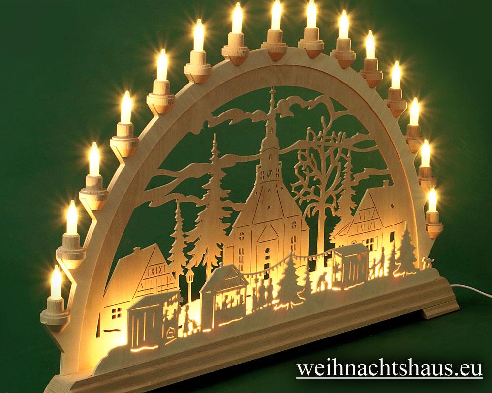 Seiffen Weihnachtshaus - Schwibbogen 20 Kerzen Seiffener Weihnachtsmarkt 80 cm - Bild 2