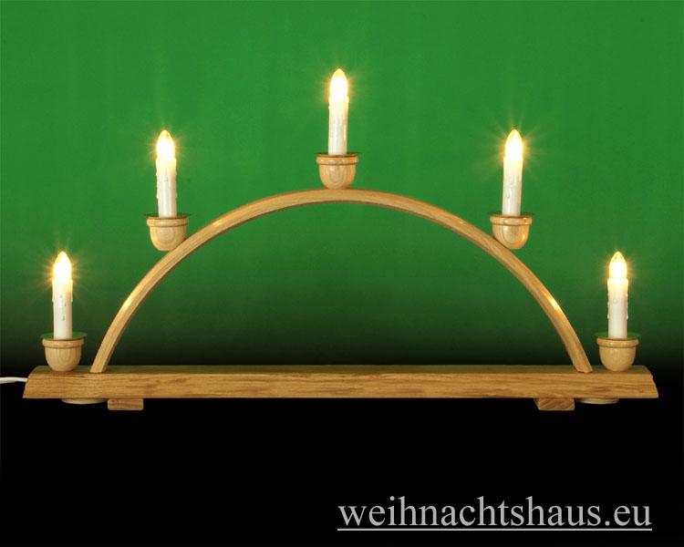 Seiffen Weihnachtshaus - Schwibbogen  ohne Figuren leer 50cm 5 Kerzen - Bild 1