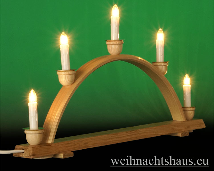 Seiffen Weihnachtshaus - Schwibbogen  ohne Figuren leer 50cm 5 Kerzen - Bild 2