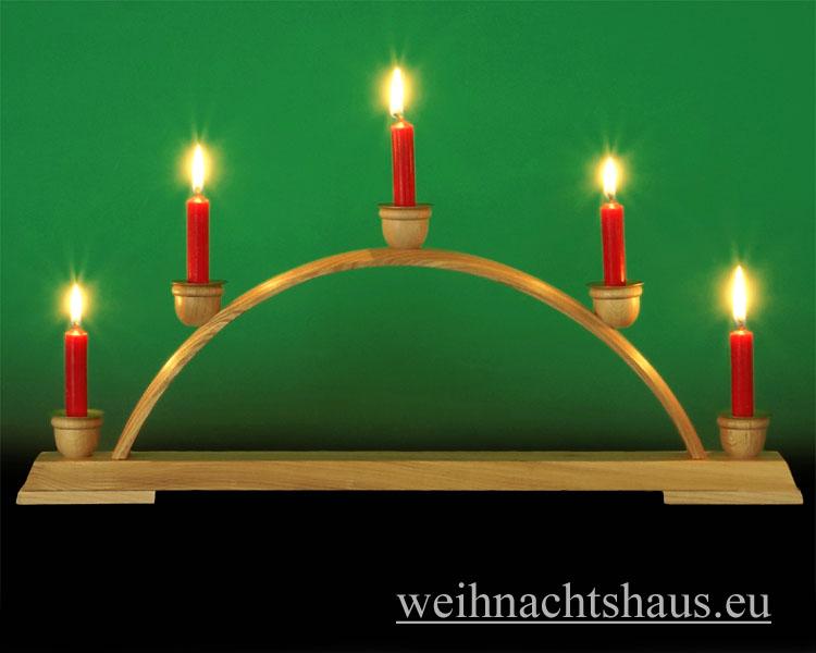 Seiffen Weihnachtshaus - Schwibbogen ohne Figuren leer für Wachskerzen  50cm 5 Kerzen - Bild 1