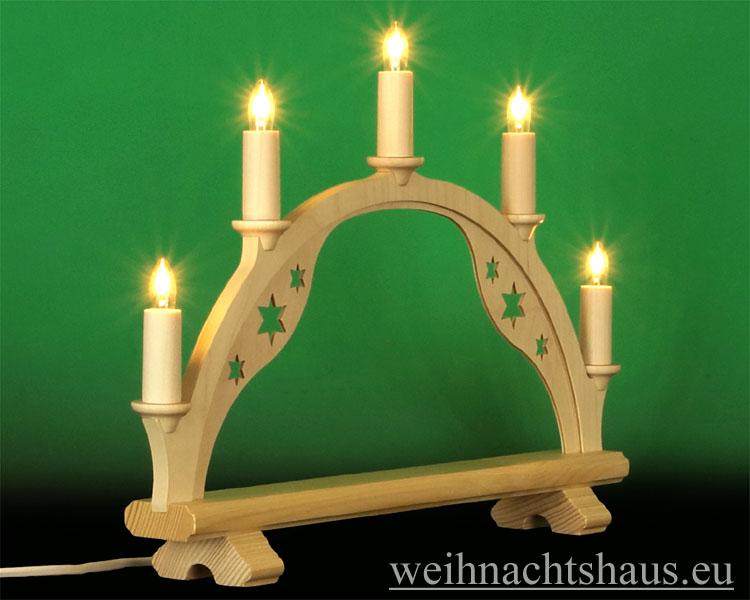 Seiffen Weihnachtshaus - Schwibbogen ohne Bestückung leer 40cm 5 Kerzen - Bild 2