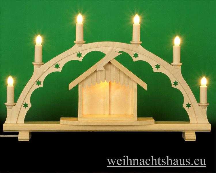 Seiffen Weihnachtshaus - Schwibbogen  ohne Figuren mit beleuchteten Krippenhaus 55cm 7 Kerzen - Bild 1