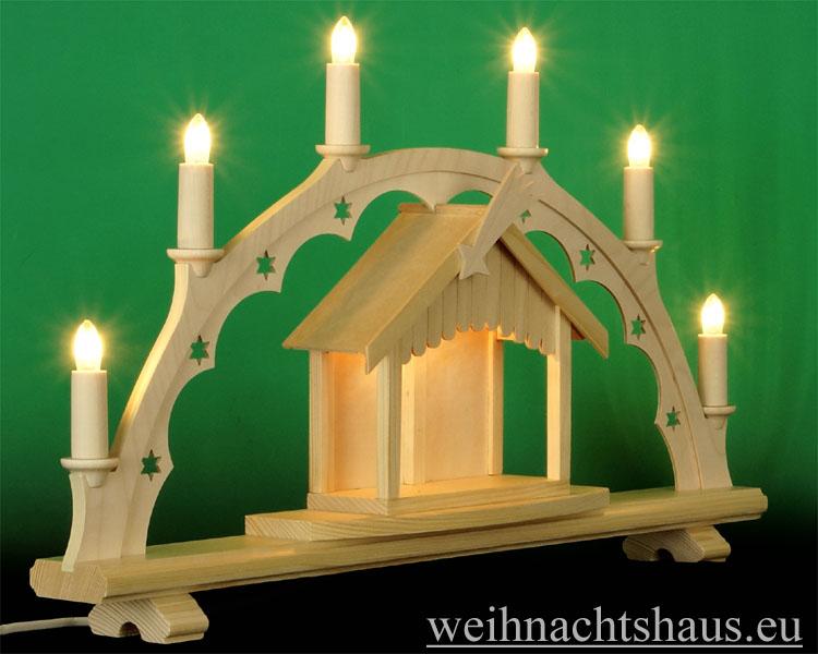 Seiffen Weihnachtshaus - Schwibbogen  ohne Figuren mit beleuchteten Krippenhaus 55cm 7 Kerzen - Bild 2