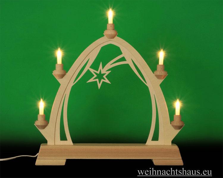 Seiffen Weihnachtshaus - Schwibbogen  ohne Figuren leer 40cm 5 Kerzen - Bild 1